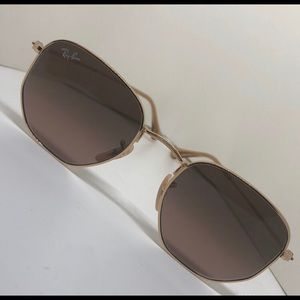 ✨Ray-Ban Hexagonal Gold Brown Mauve  Sunglasses